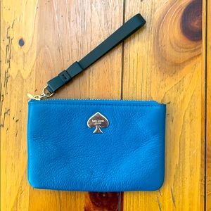 Kate Spade Blue and Black Wristlet w/Gold Accents